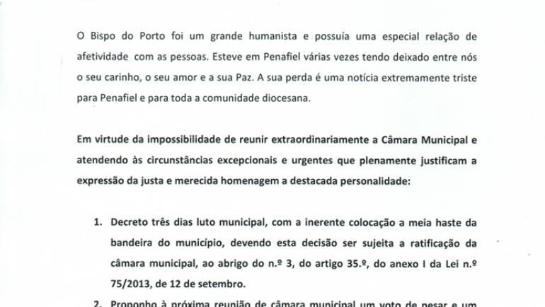 O presidente da Câmara de Penafiel decretou três dias de luto, pela morte de D. Antonio Francisco dos Santos