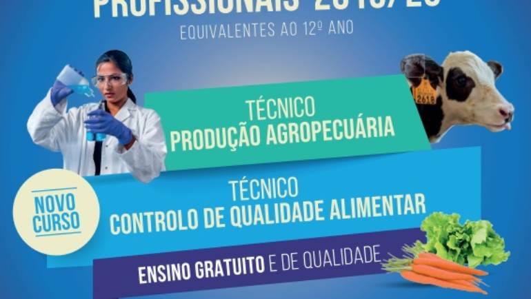 CURSOS PROFISSIONAIS DE TÉCNICO DE CONTROLO DE QUALIDADE ALIMENTAR E DE TÉCNICO DE PRODUÇÃO AGROPECUÁRIA COM INSCRIÇÕES ABERTAS