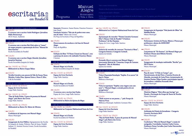 PROGRAMA OFICIAL ESCRITARIA 2019 – HOMENAGEM À VIDA E OBRA – MANUEL ALEGRE