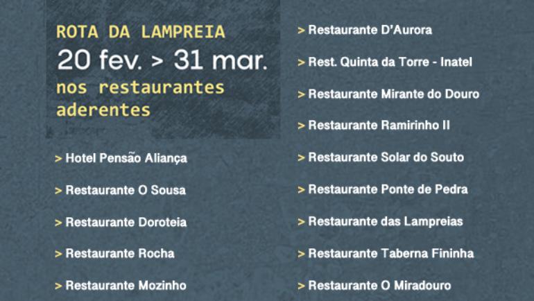 ROTA DA LAMPREIA À MODA DE PENAFIEL DE 20 DE FEVEREIRO A 31 DE MARÇO